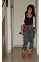 white Promod cardigan - blue Zara top - blue random brand pants - brown shoes -