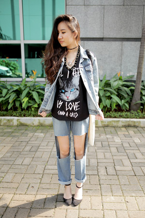 sky blue moms DIY jeans - light blue denim moto Topshop jacket