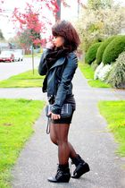 black jacket - black shoes - black purse - black scarf - black skirt