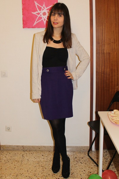Pepe Jeans top - Zara blazer - vintage skirt - Stradivarius necklace