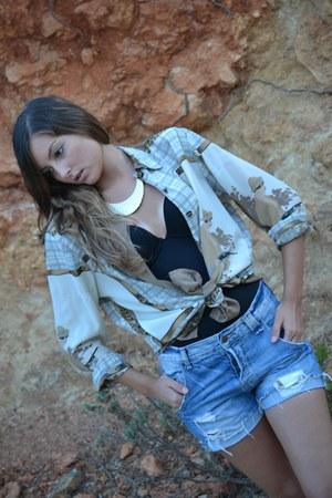 vintage shirt - Zara shorts - Primark bodysuit
