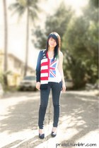 black skinny jeans human jeans - white union jack the body shop bag