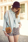 H-m-hat-purse-urban-outfitters-shorts-chicwish-blouse