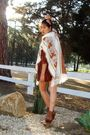 Brown-anna-sui-for-target-dress-orange-vintage-poncho-jacket-brown-steve-mad