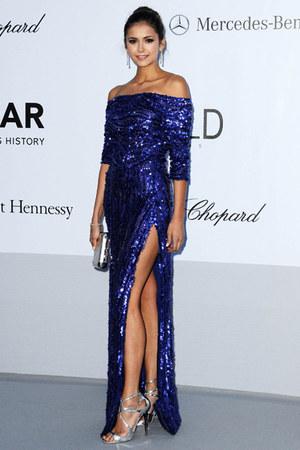 blue glitter sequins Elie Saab dress - silver heels