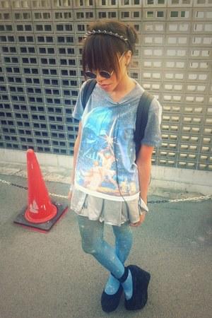 sky blue star wars print shirt - periwinkle galaxy print tights