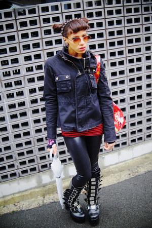 black Demonia boots - dark gray BB Dakota jacket - black leggings