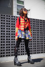 Dark-gray-lita-star-print-jeffrey-campbell-boots-red-wego-jacket