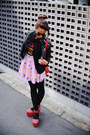 Light-pink-disney-print-spinns-skirt-black-studded-romwe-jacket