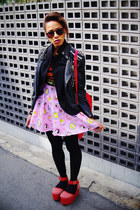 light pink disney print spinns skirt - black studded romwe jacket