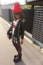 red studded Supermarket hat - black romwe jacket