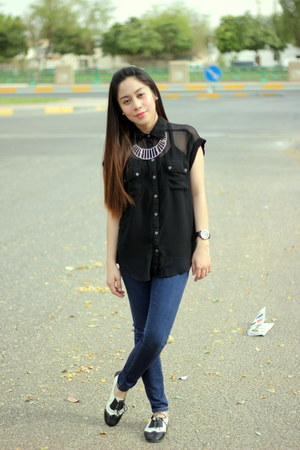 sheer blouse - H&M necklace - oxfords flats