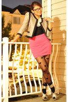 gray H&M blazer - black Forever 21 top - pink material girl skirt - black Foreve