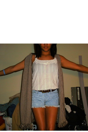 Retrospect shorts - knitted Thrift Store vest - crop top blue asphault top
