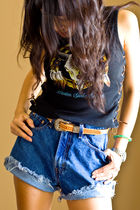 black top - blue jordache shorts