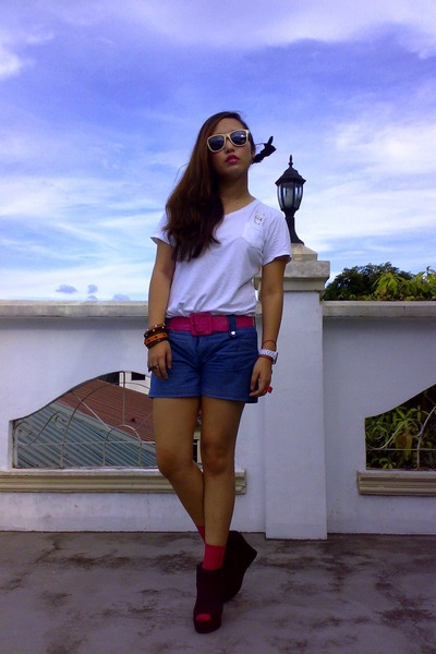white plain bangkok shirt - navy bangkok shorts