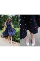 navy vintage a-line dress - white Upper West Side heels
