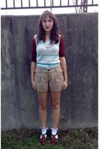tan Old Navy shorts - brown shoes - brick red knit Old Navy shirt