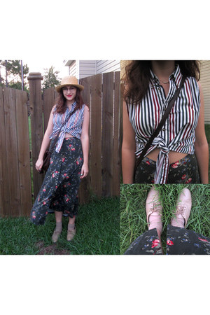 olive green floral print skirt - tan straw hat - white crop top shirt