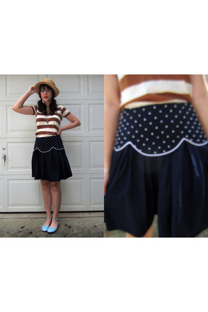 navy beaded skirt - camel straw hat - burnt orange striped Forever 21 shirt