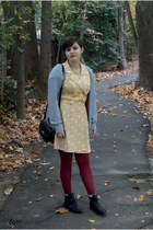 light yellow thrifted dress - black Target boots - crimson Target tights
