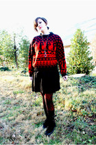 vintage sweater - Nordstrom boots - Urban Outfitters tights - H&M tights