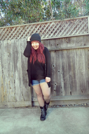 black boots - black hat - black sweater - black shirt - blue shorts