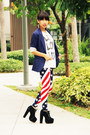 Red-indie-go-leggings-navy-h-m-blazer-white-forever21-top
