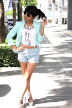 aquamarine H&M blazer - sky blue floral INDIE-GO shorts
