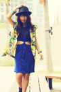 Gold-graphic-print-indie-go-blazer-navy-cut-out-indie-go-dress