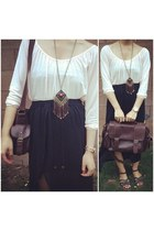 dark brown tribal Forever 21 necklace - dark brown thrifted bag
