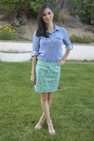 diy skirt - blue Forever 21 top