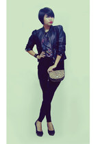 leather Amour jacket - leopard print Zara bag - panther Topshop t-shirt