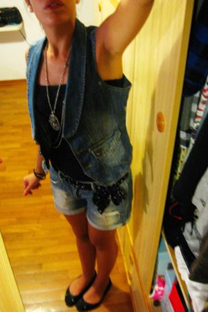 blue Zara shorts - blue Zara vest - black amsterdam shoes - black  scarf - black