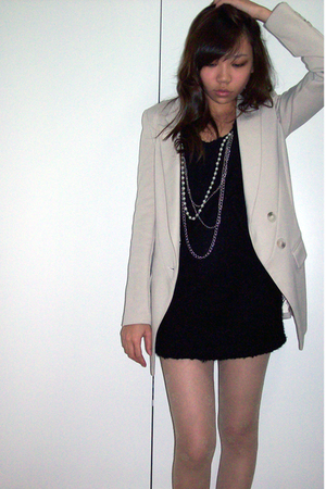 black dress - beige blazer