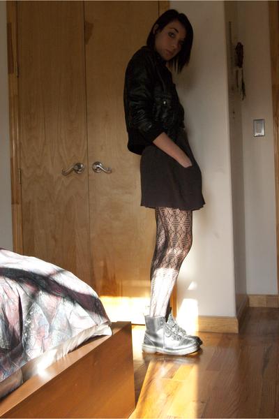 H&M Jacket - random vest dress - aa scoop neck dress - calvin klein tights - doc