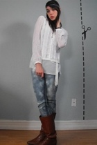 vintage white lace top - diy bleach jeans - tan vintage boots - diy braided head