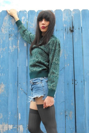 green sweater - blue shorts