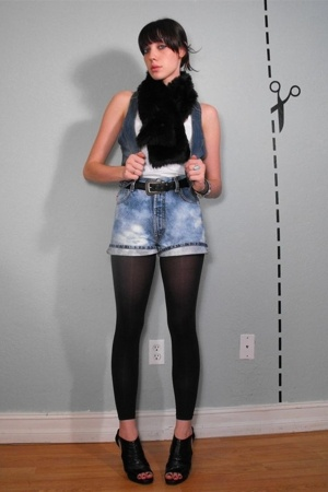 vintage faux fur scarf - H&M vest - diy bleach shorts - AA white tank and tights
