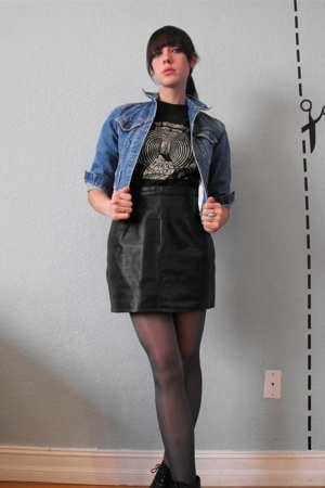 vintage black leather mini skirt - vintage black doors tee - vintage jean jacket