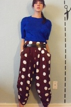 vintage blue sweater crop top - double belt from market