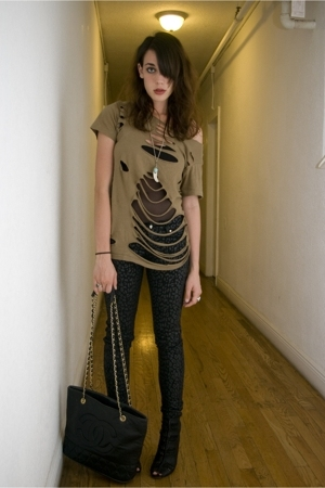 diy cut up tee - Sam Edelman Booties - tripp jeans - aa mesh bodysuit - boars to