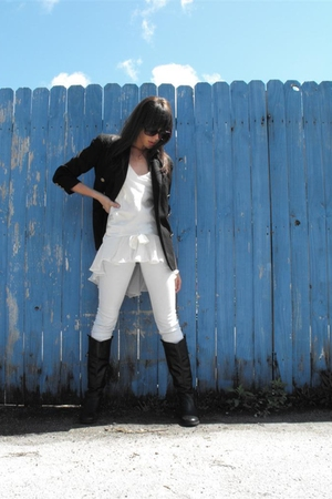 vintage blazer - vintage intimates top - insight jeans - black riding boots