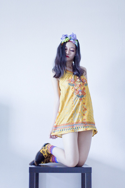 yellow embroidered Forever 21 dress - light blue RV Designs scarf