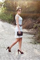 Kenzo skirt - Bottega Veneta bag - Pura Lopez pumps