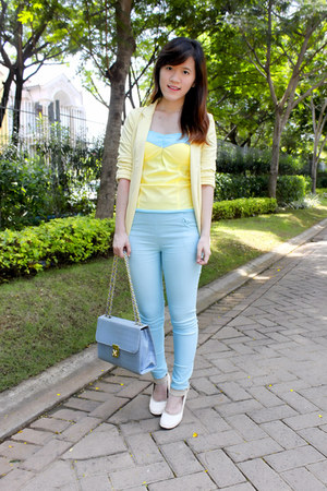 yellow Gaudi blazer - sky blue Guess purse - light yellow keep it chic bodysuit