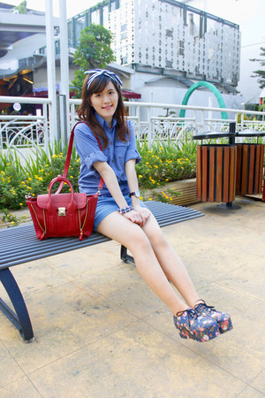 red 31 Phillip Lim bag - blue shirt - blue shorts - blue flowery shoes wedges