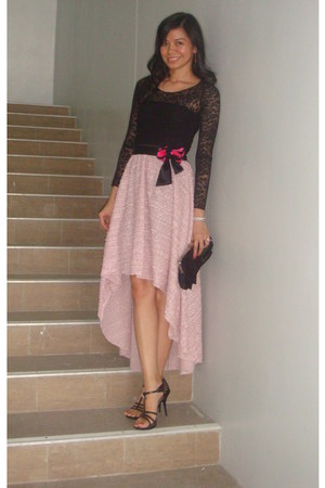 black sheer lace Fashion Fruit top - light pink hi-lo mullet Fashion Fruit skirt