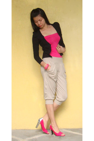beige harem Fashion Fruit pants - black cropped blazer - hot pink tube  top top