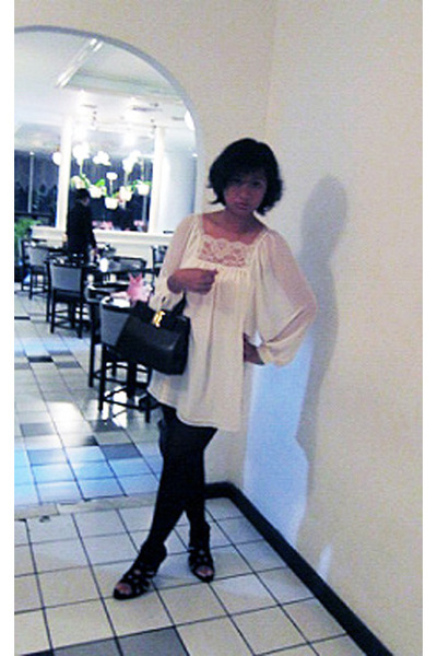 white Zara top - brown Salvatore Ferragamo purse - black Topshop tights - black